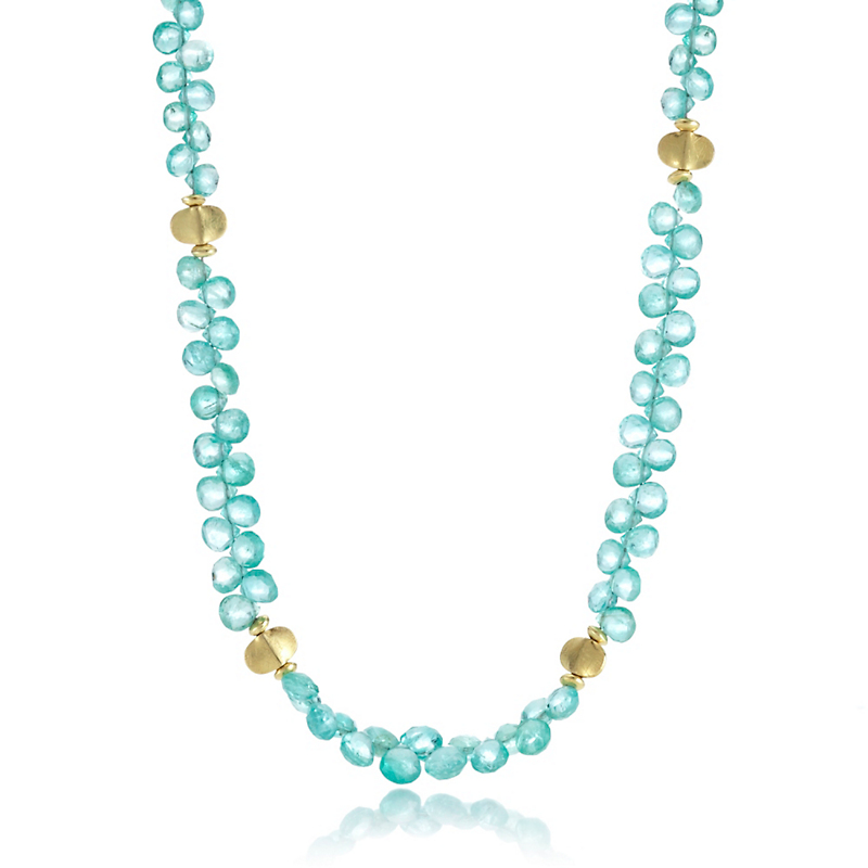 Barbara Heinrich Emerald Briolette & Gold Spacer Necklace