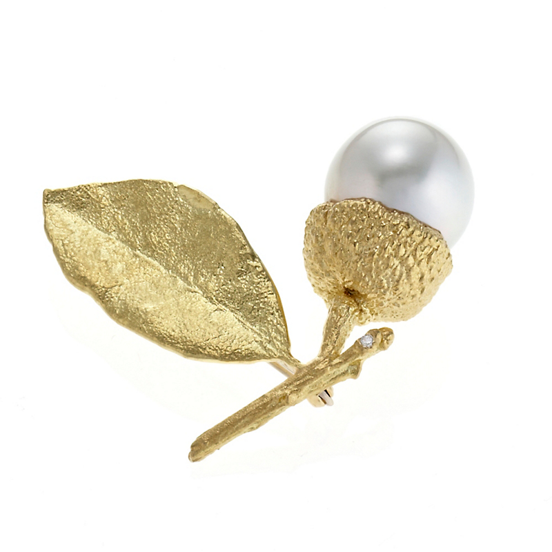 Aaron Henry White South Sea Pearl Acorn Leaf & Branch Brooch