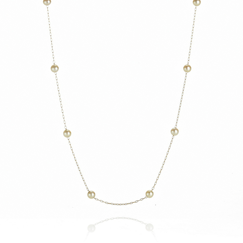 Petite Golden Akoya Pearl Gold Chain Necklace
