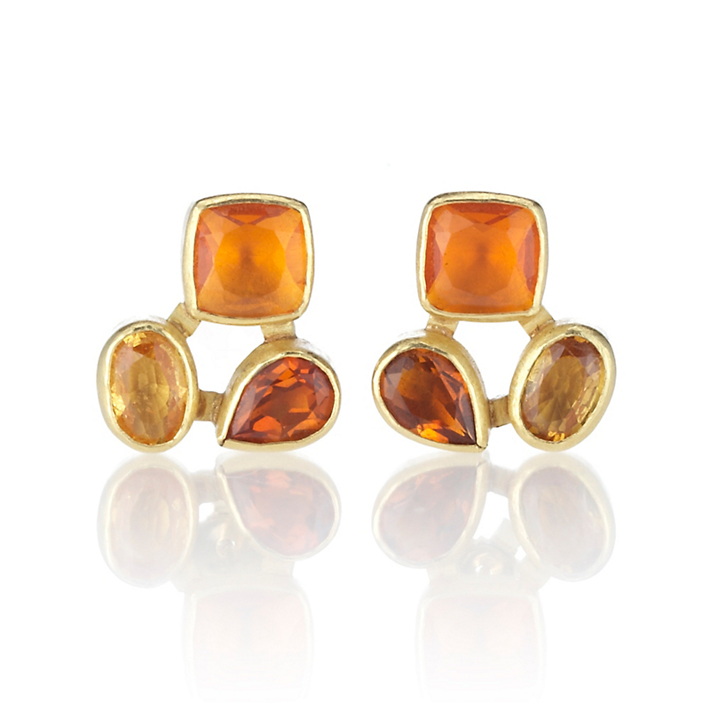 Petra Class Sapphire, Citrine, & Fire Opal Cluster Earrings