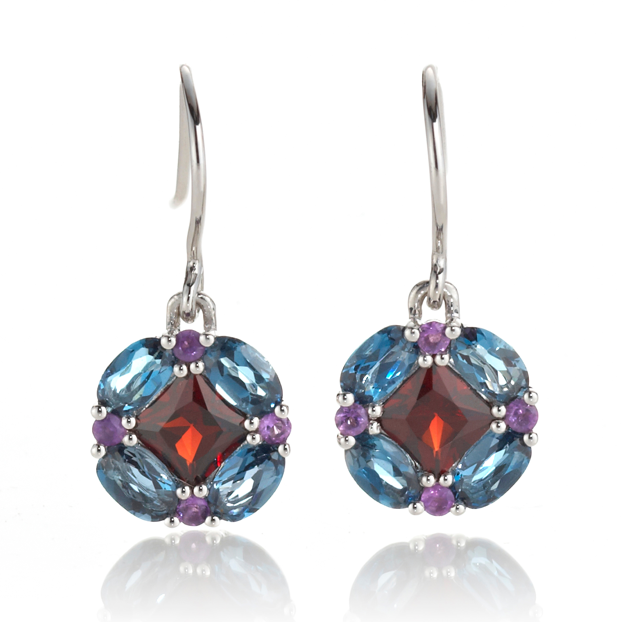 Gump's Garnet Blue Topaz & Amethyst Quadrille Drop Earrings
