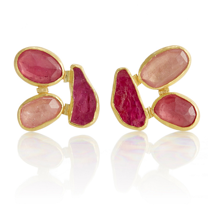Petra Class Pink Sapphire & Ruby Three Stone Earrings