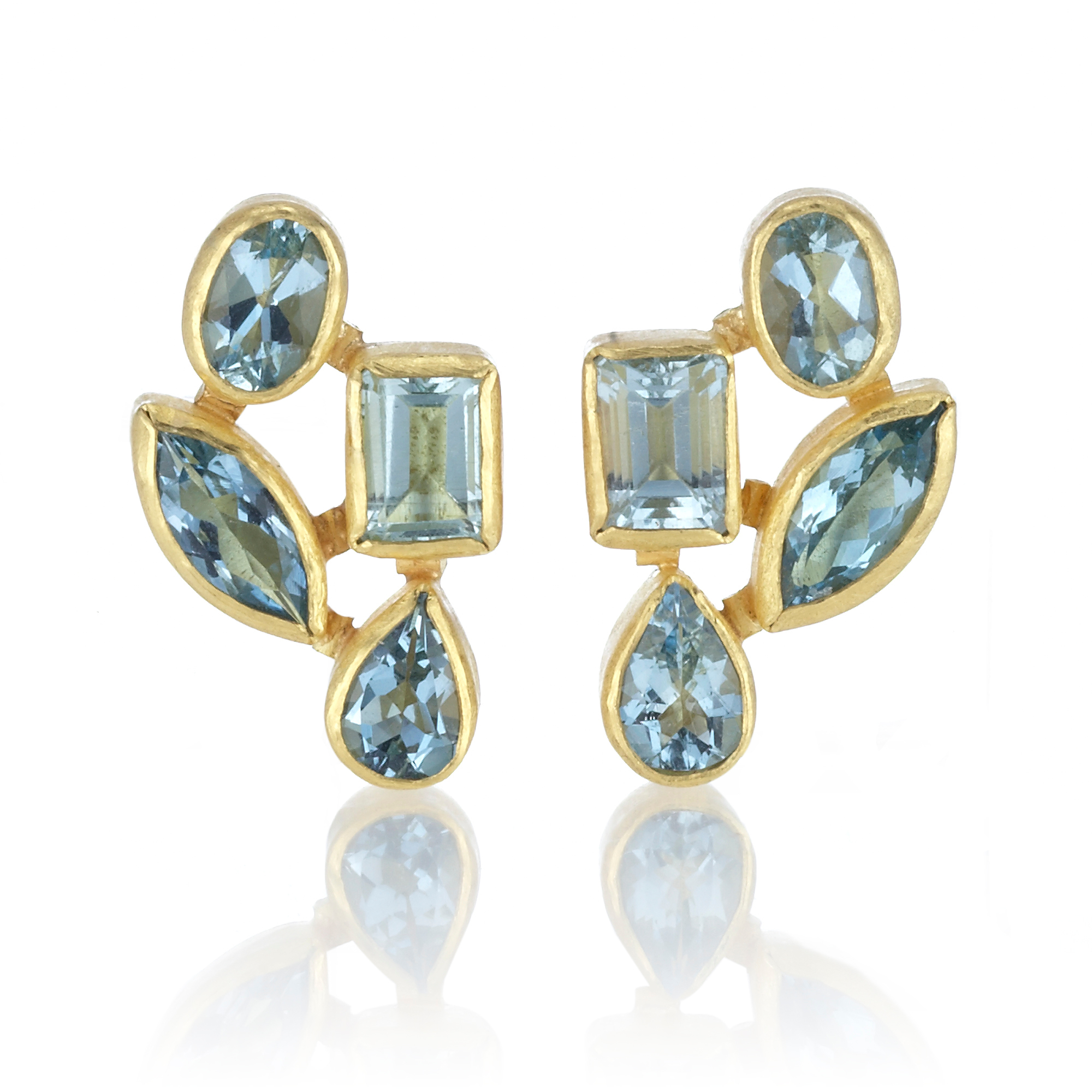 Petra Class Faceted Aquamarine Cluster Earrings