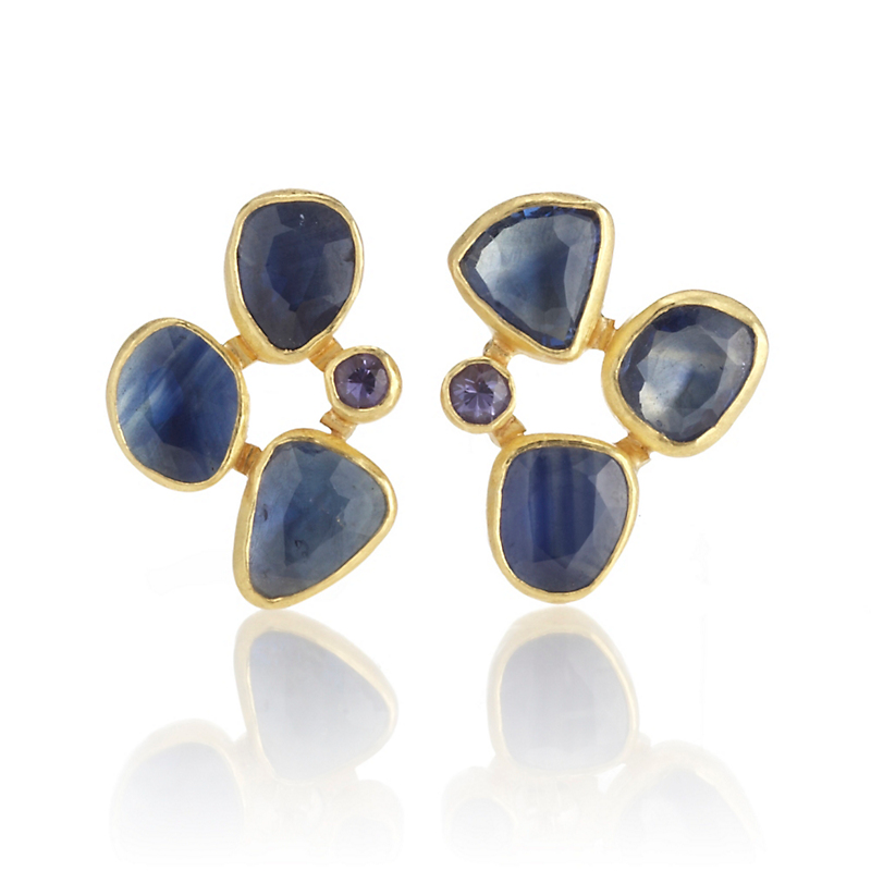 Petra Class Blue & Lavender Sapphire Cluster Earrings
