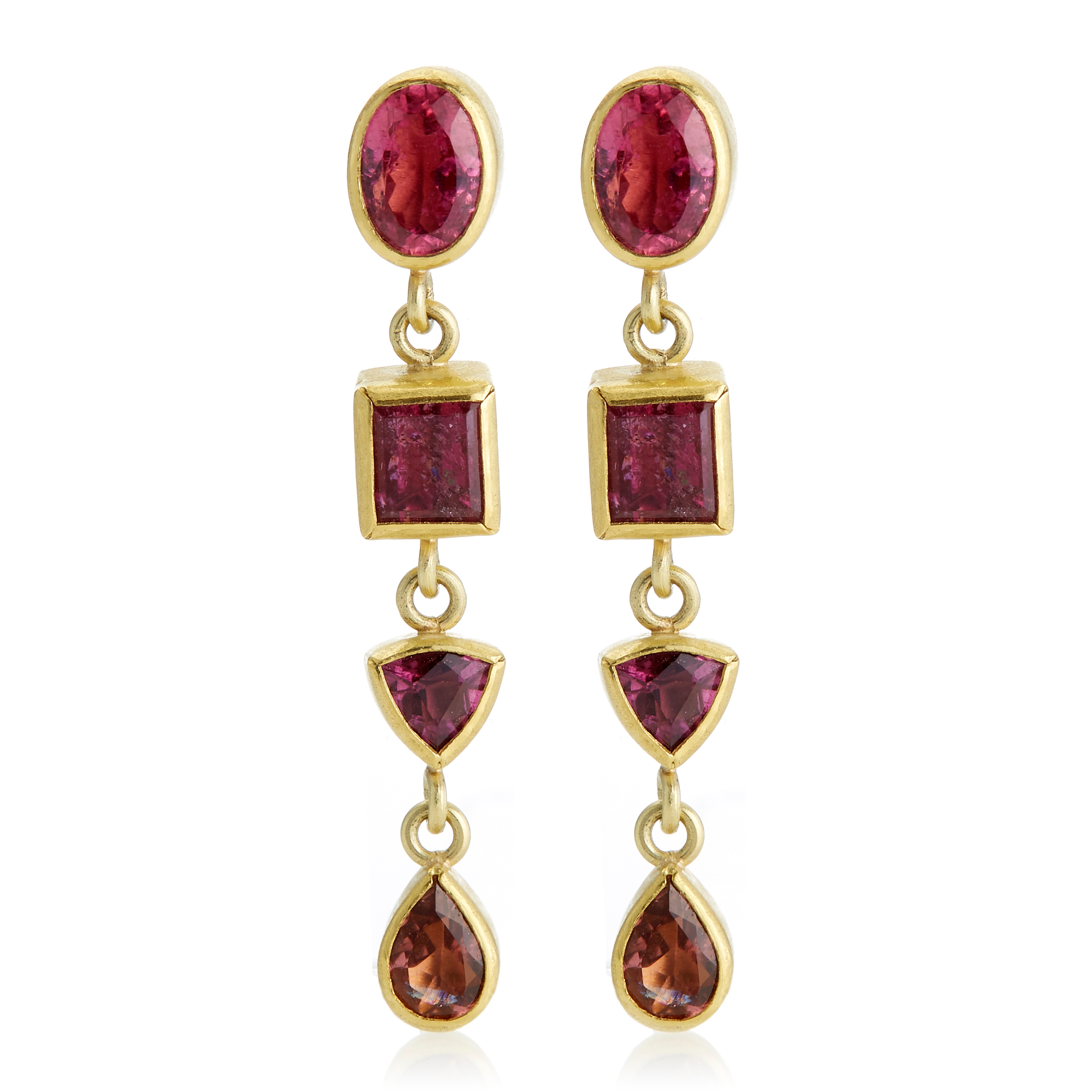Petra Class Pink Tourmaline Geometric Drop Earrings