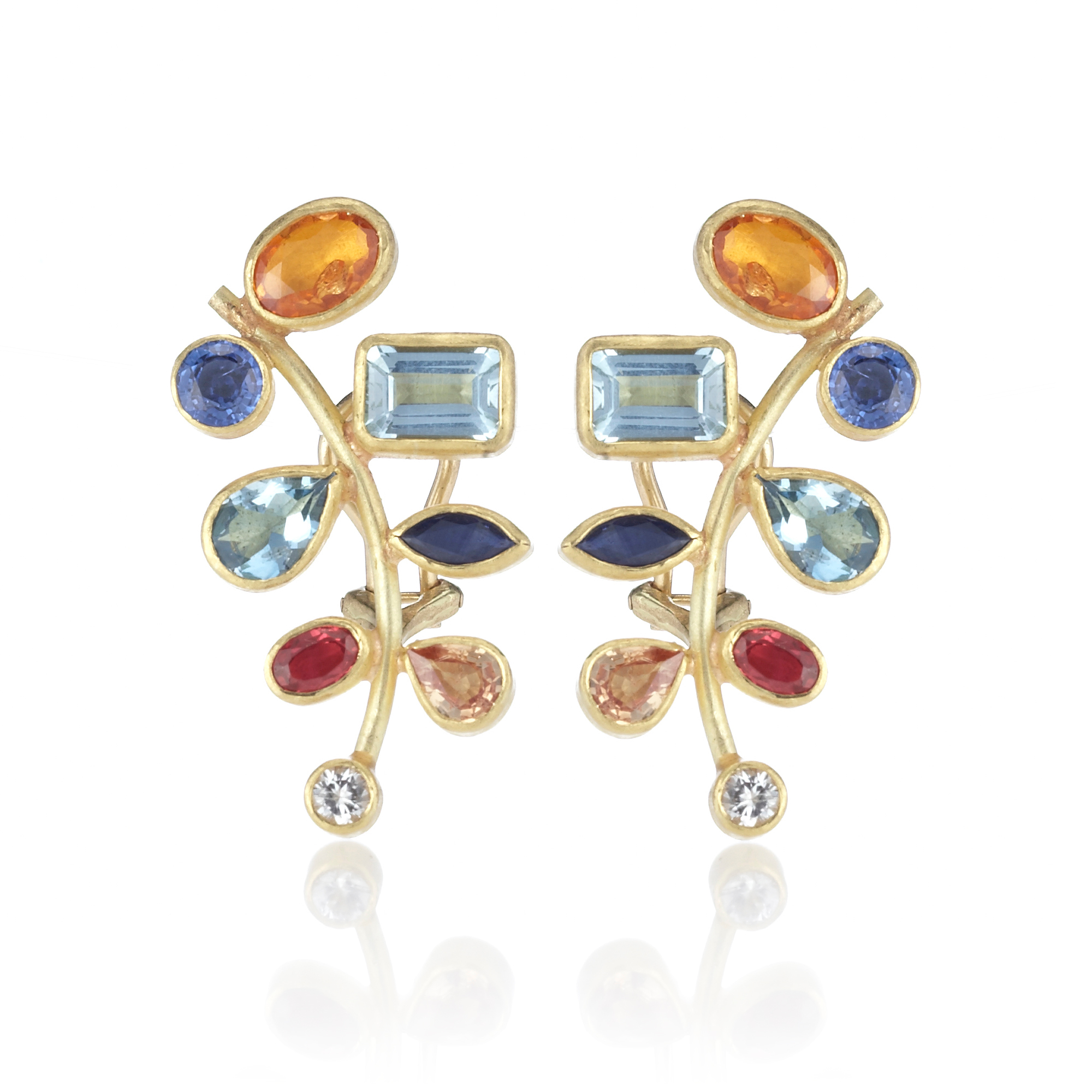 Petra Class Multicolor Gem & Diamond Leaf Branch Earrings