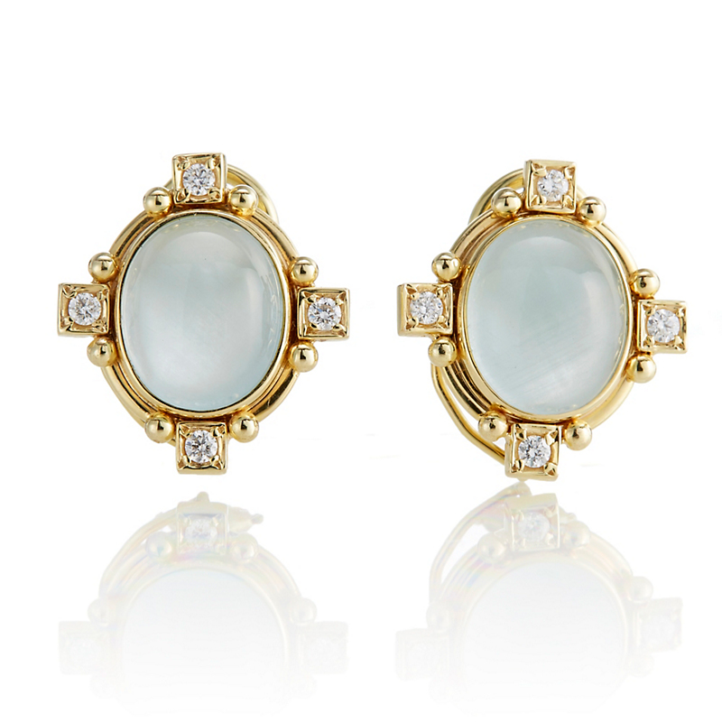 Aquamarine & Four Points Diamond Earrings