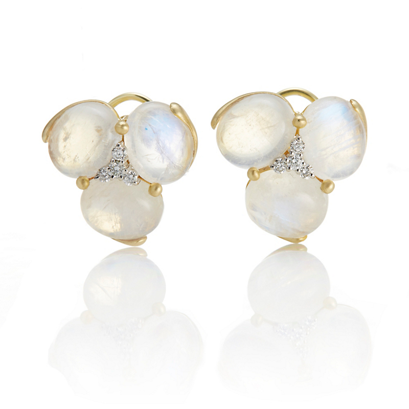 Gump's Oval Moonstone Cabochons & Diamond Center Earrings
