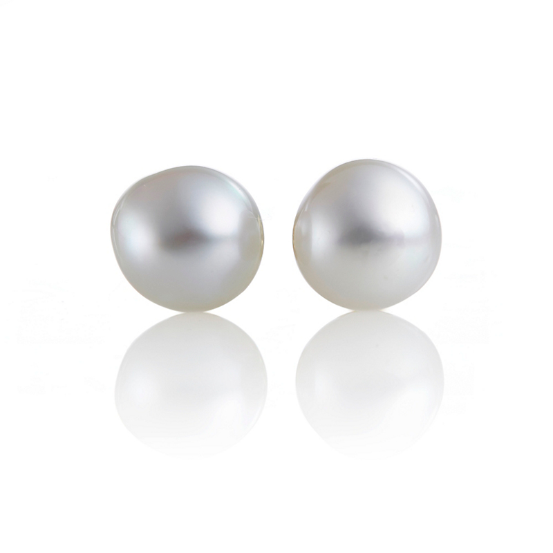 Gump's White Baroque South Sea Pearl Stud Earrings