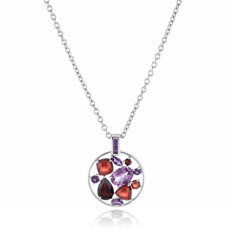 Gump's Amethyst & Garnet Facet With Cabochon Pendant Necklace