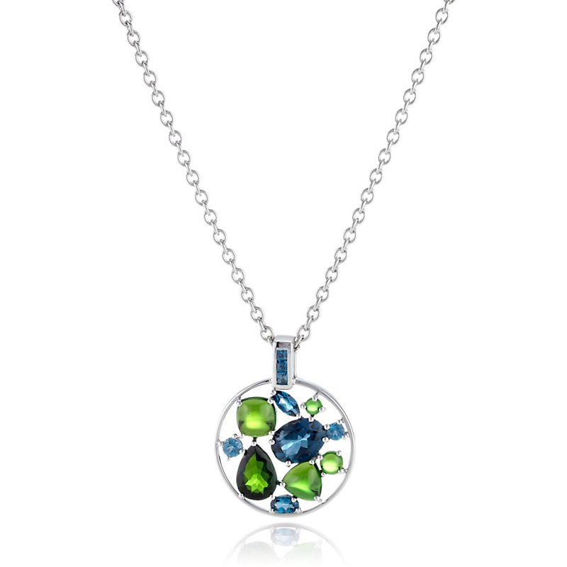 Gump's London Blue Topaz & Chrome Diopside Facet With Cabochon Pendant Necklace