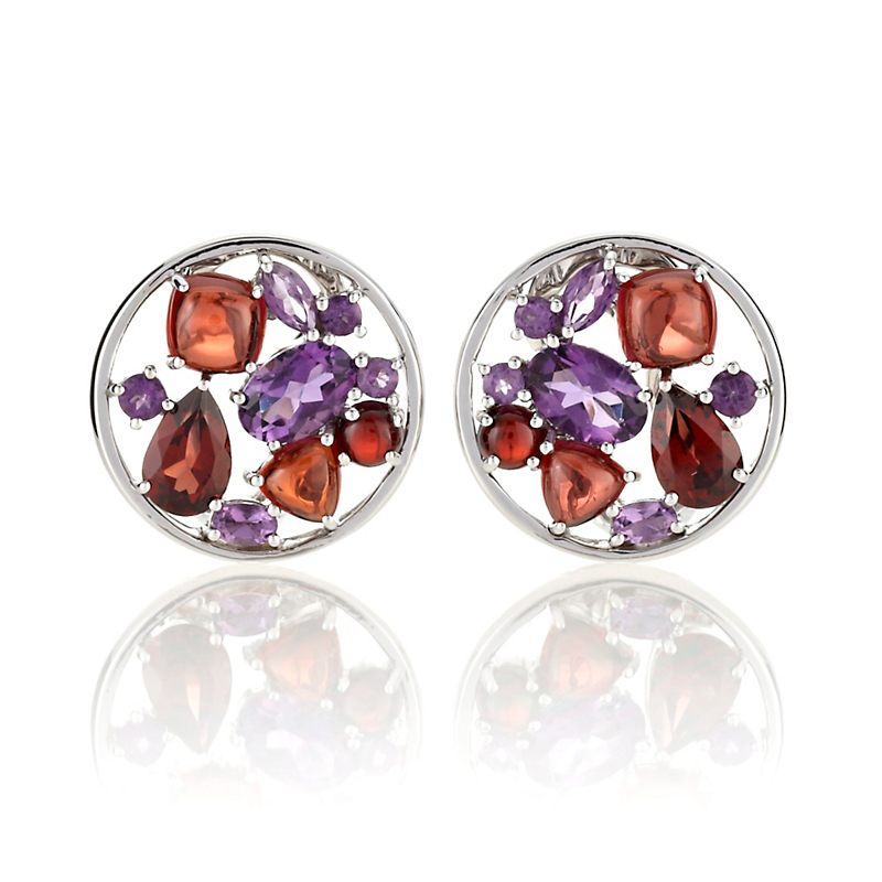 Gump's Amethyst & Garnet Facet With Cabochon Earrings