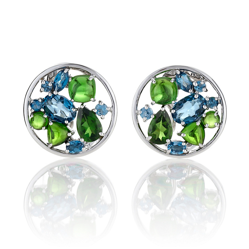 Gump's London Blue Topaz & Chrome Diopside Facet With Cabochon Earrings