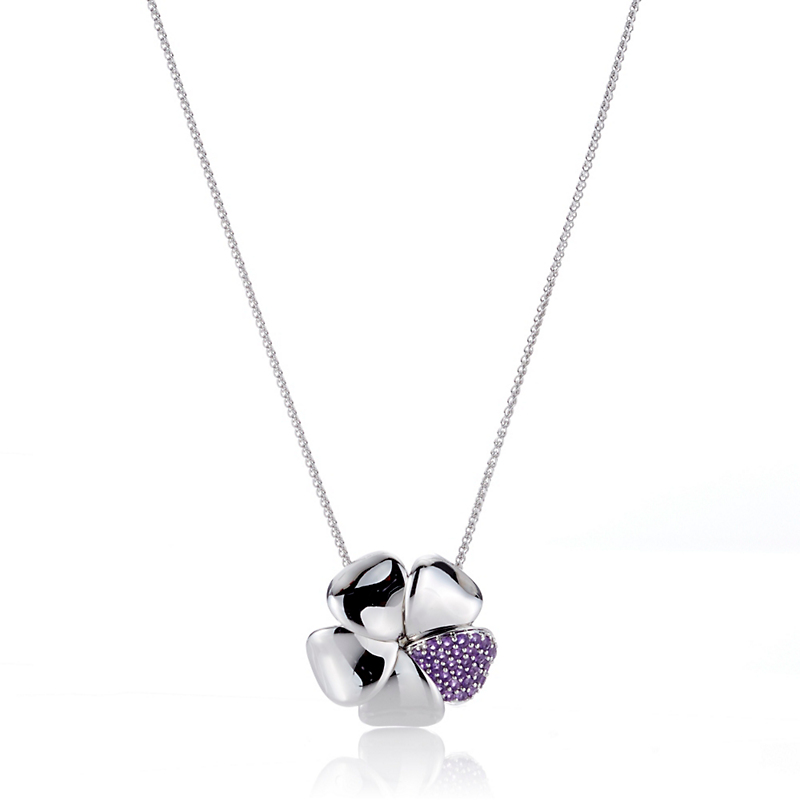 Gump's Pave Amethyst Flower Pendant Necklace