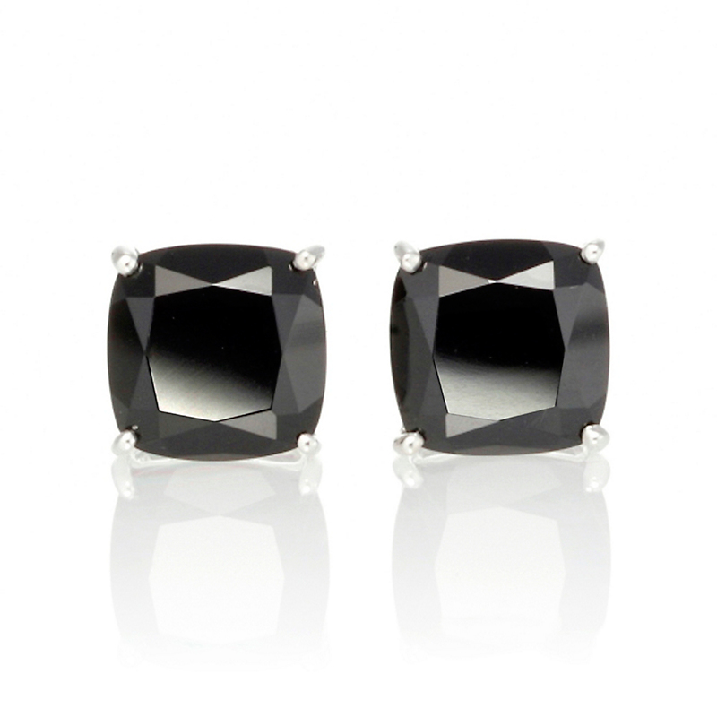 Gump's Faceted Onyx Cushion Stud Earrings