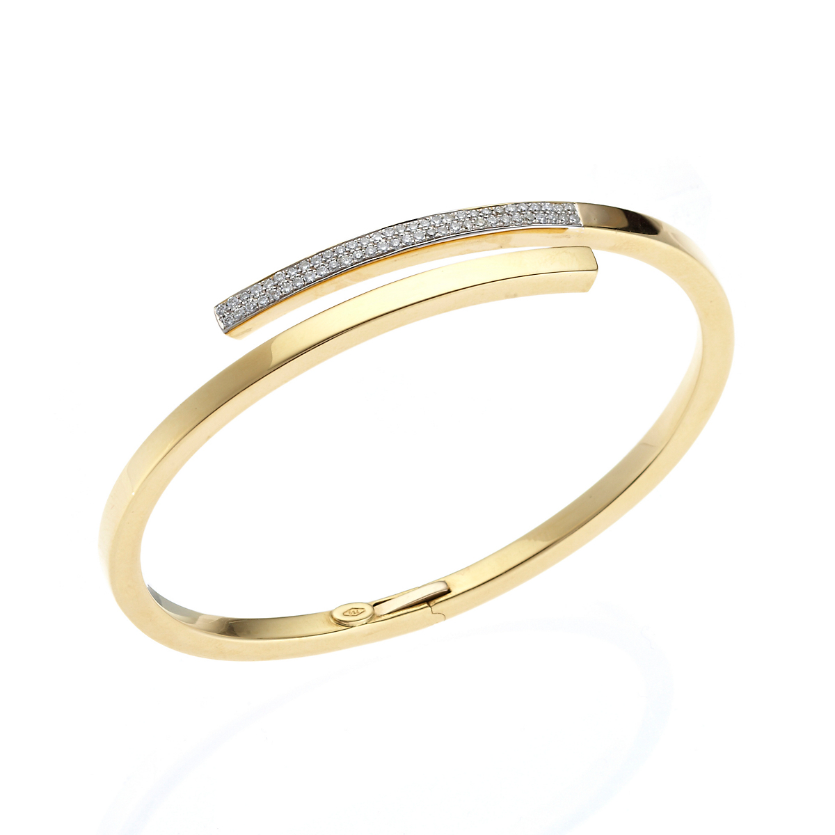 Gold & Diamond Bypass Bangle