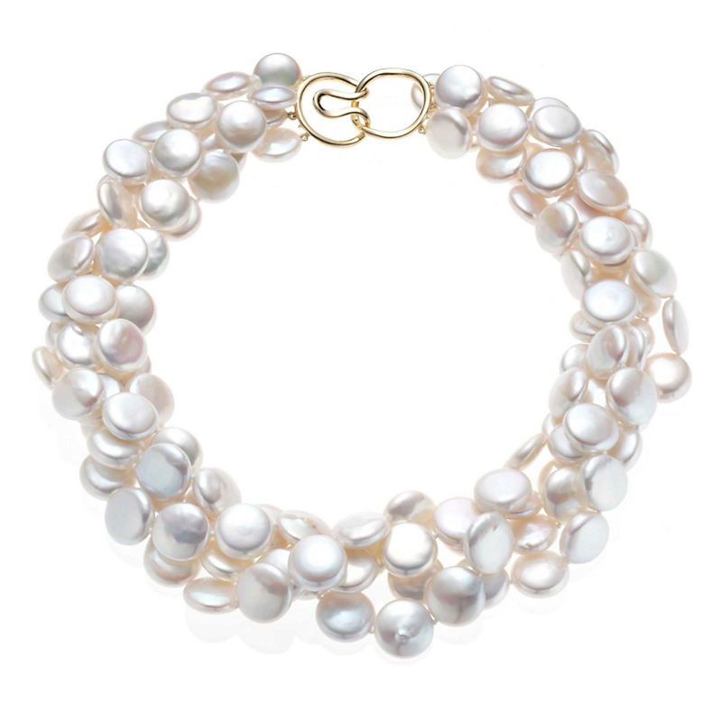 Gump's Four Strand Coin Pearl Twist Necklace