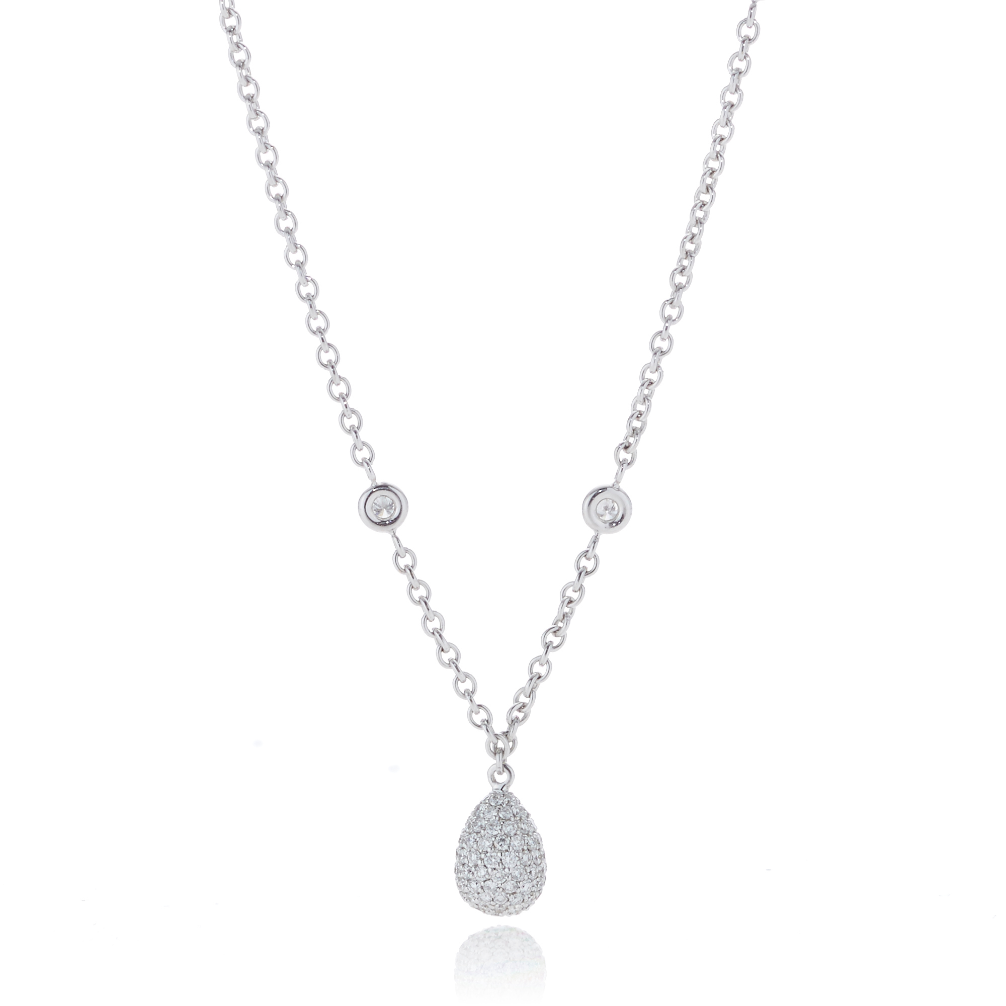 Pavé Diamond Drop White Gold Pendant Necklace