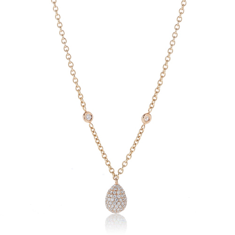 Pavé Diamond Drop Yellow Gold Pendant Necklace