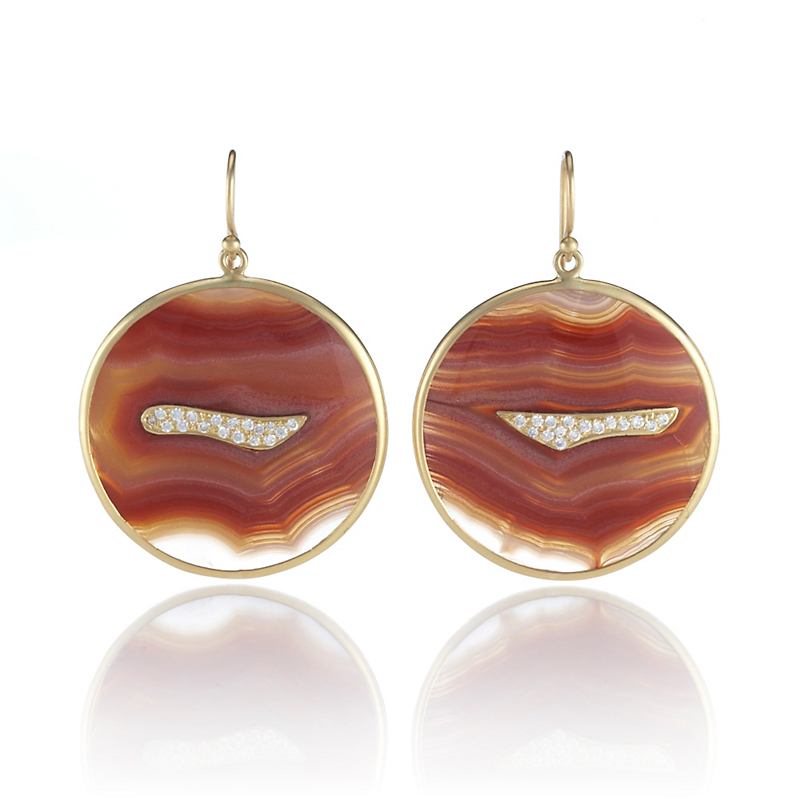 Kothari Laguna Lace Agate Pavé Diamond Round Earrings