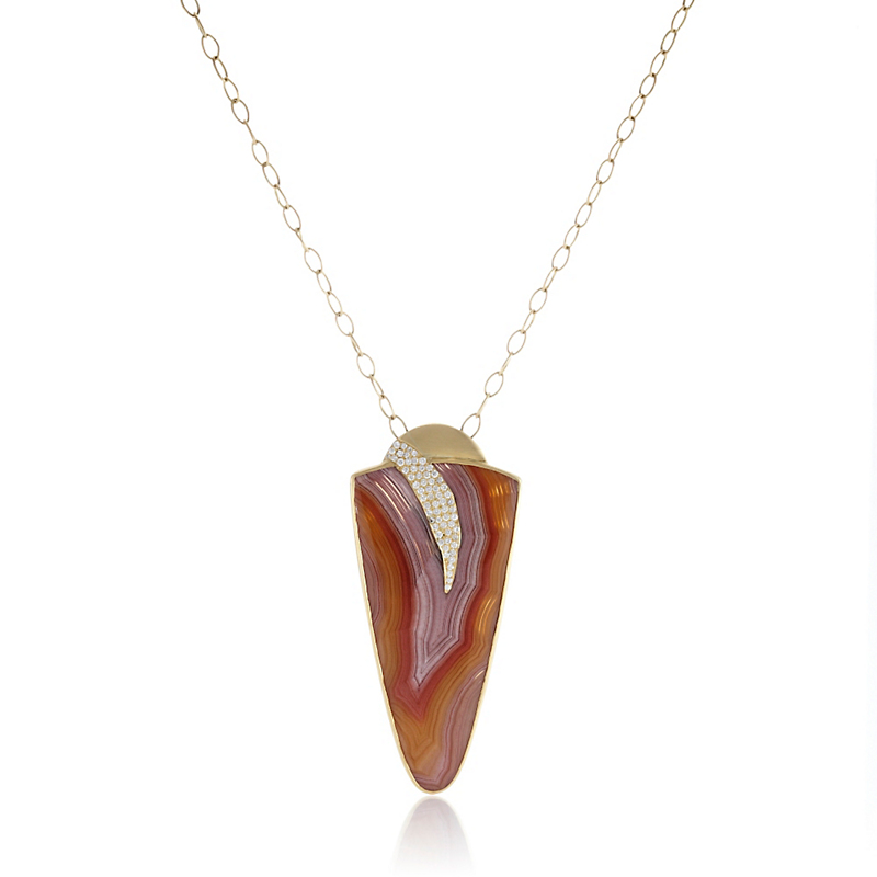 Kothari Laguna Lace Agate Pavé Diamond Claw Necklace