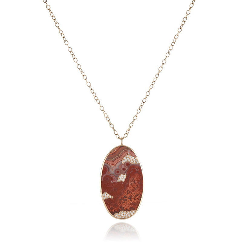 Kothari Lace Agate Pavé Diamond Oval Pendant Necklace