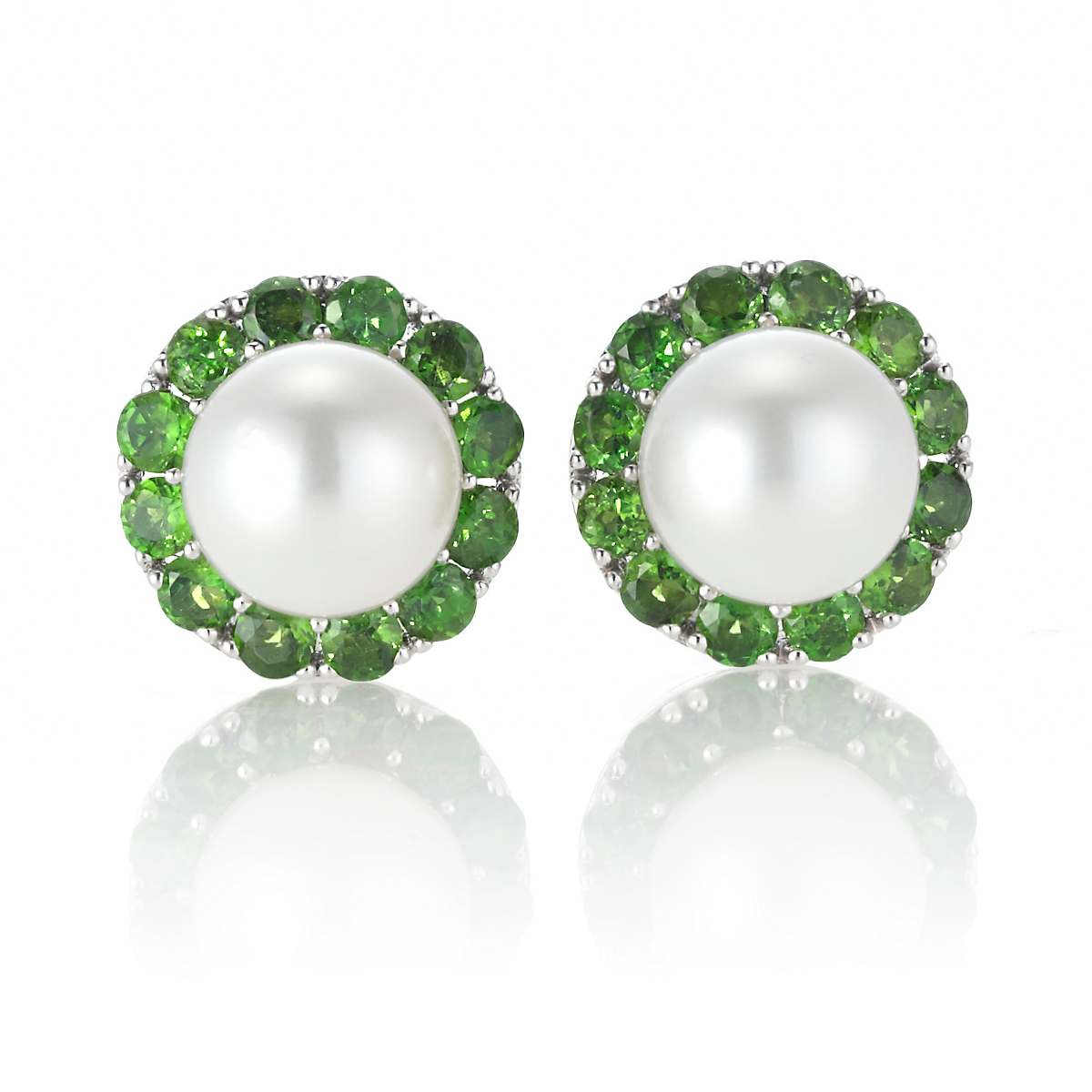 Gump's Chrome Diopside & Pearl Earrings