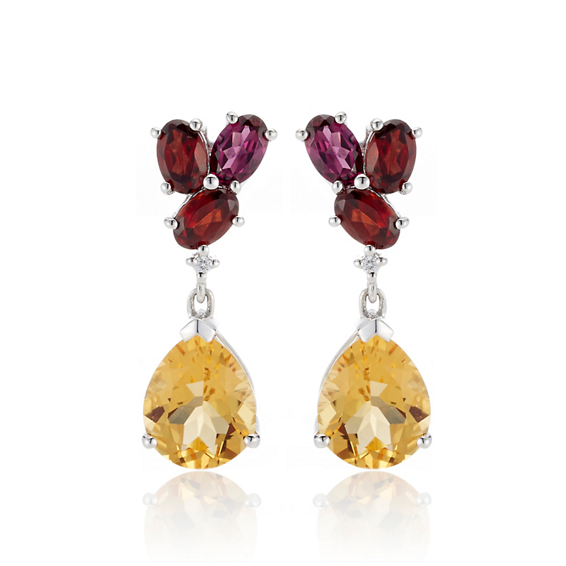 Gump's Faceted Garnet & Citrine Drop Earrings