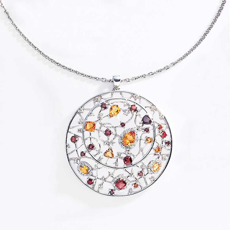 Gump's Garnet Citrine & White Topaz Pendant Necklace