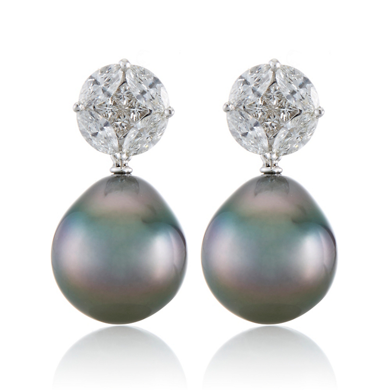 Gump's Diamond Mosaic and Tahitian Pearl Drop Earrings