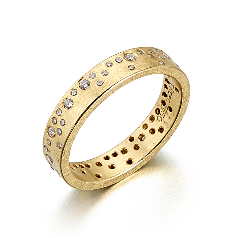 Todd Reed White Diamond Flush Set Organic Pattern Ring