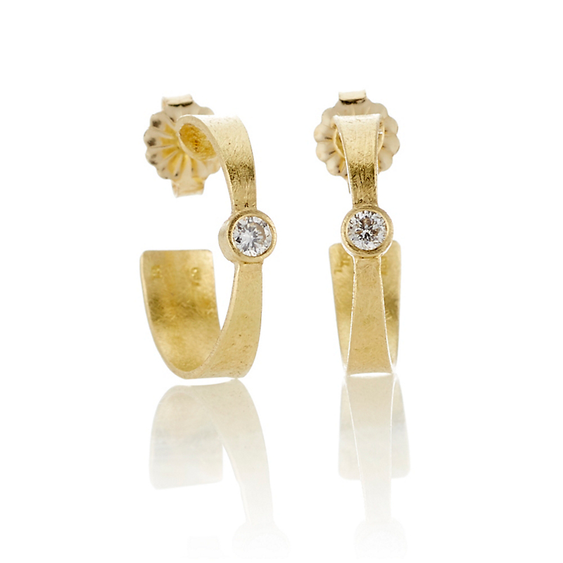 Todd Reed Diamond & Gold Hoop Earrings