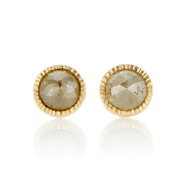 Todd Reed Rose Cut Yellow Diamond & Gold Stud Earrings