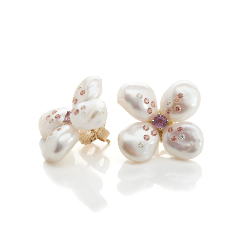 Russell Trusso Four Petal Pearl Pink Sapphire & Diamond Earrings
