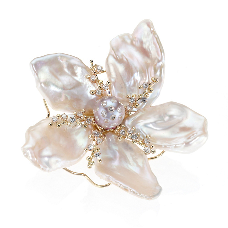 Russell Trusso Large Petal Pearl, Diamond & Pink Sapphire Flower Brooch