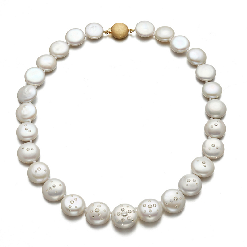 Russell Trusso Diamond Embedded Coin Pearl Necklace