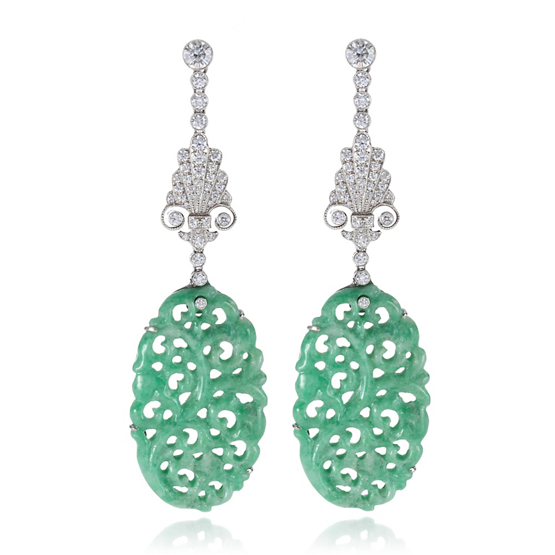 Cicada Carved Green Jadeite & Diamond Drop Earrings
