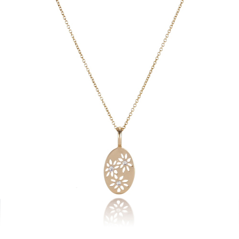 Oval Flower Gold & Diamond Pendant Necklace