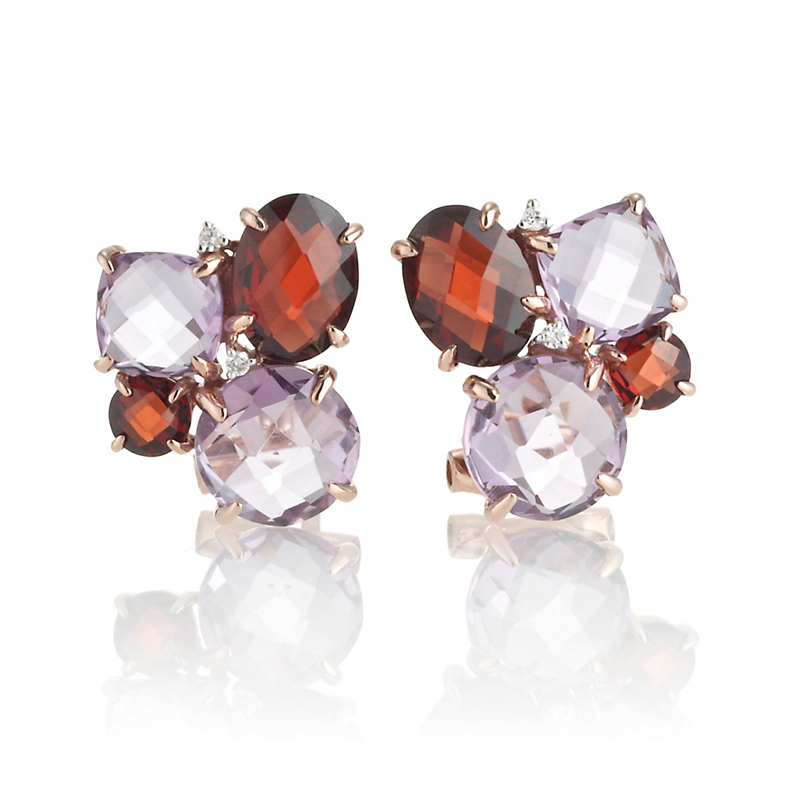 Amethyst, Garnet & Diamond Rose Gold Cluster Earrings