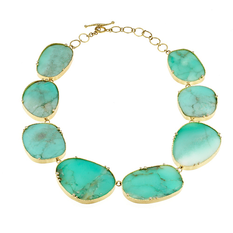 Barbara Heinrich Large Chrysoprase Slice & Diamond Necklace