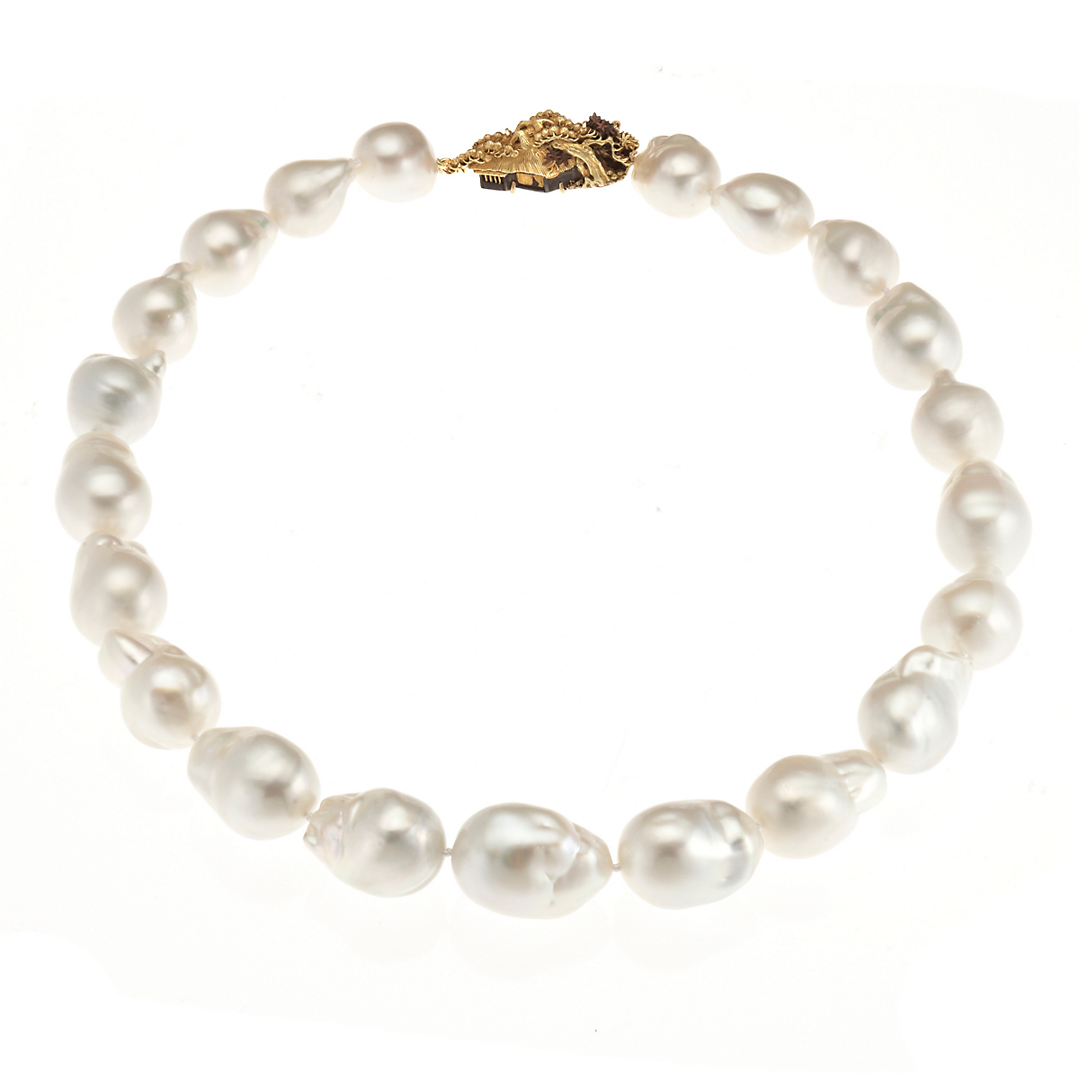 Gump's White Baroque South Sea Cultured Pearl & Menuki Necklace