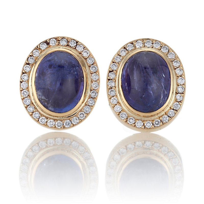 Gump's Oval Tanzanite Cabochon Diamond Bezel Earrings