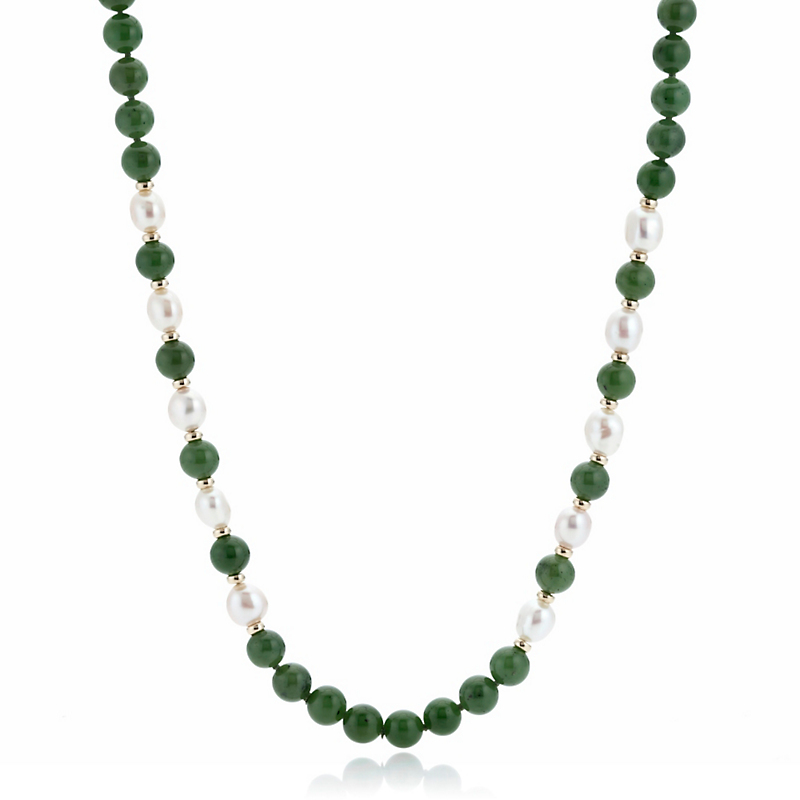 Gump's Green Nephrite Jade Pearl & Gold Rondelle Rope Necklace