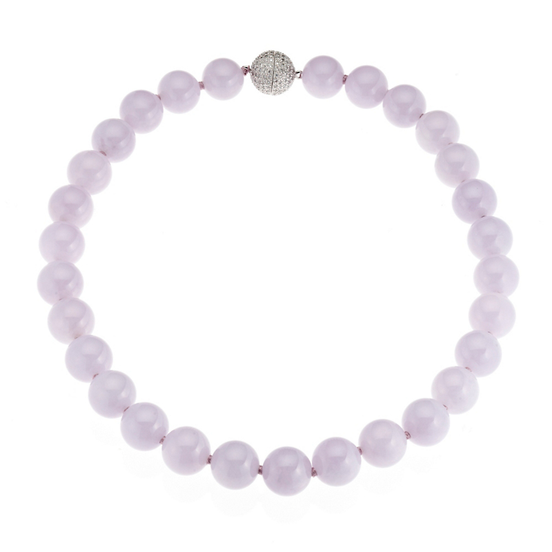 Gump's Lavender Jadeite & Diamond Necklace