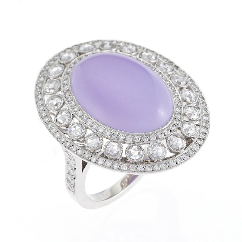 Gump's Lavender Jadeite Rose Cut Diamond Platinum Ring