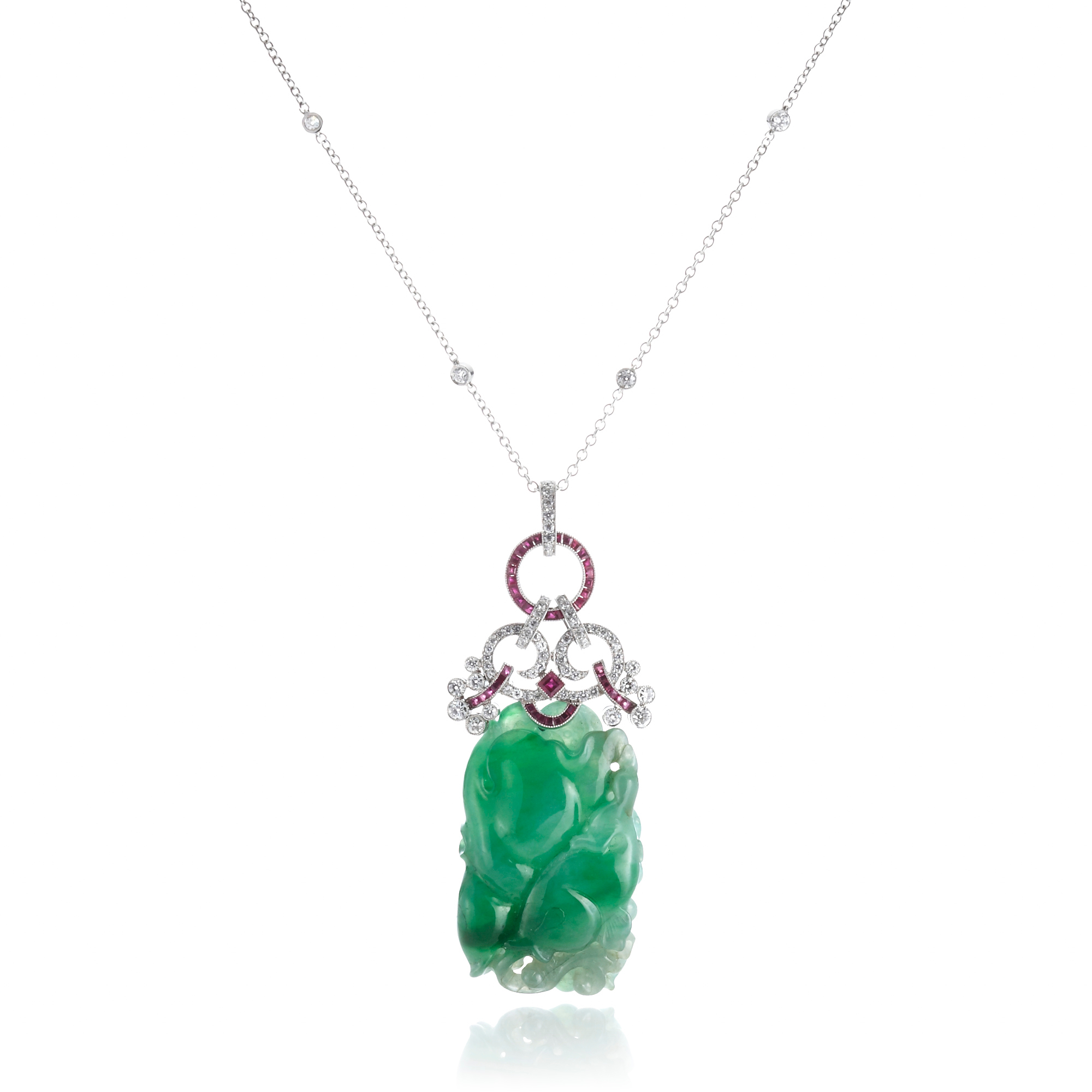 Cicada Diamond, Ruby & Carved Jadeite Carp Pendant