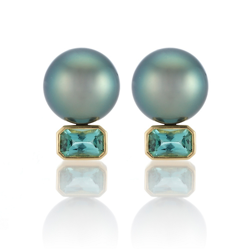 Gump's Tahitian Pearl Blue Green Tourmaline Stud Earrings