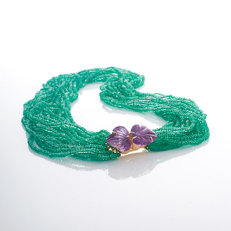 Gump's Emerald & Carved Amethyst Necklace