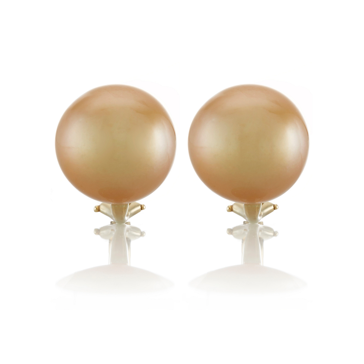 Gump's Golden South Sea Cultured Round Pearl Earrings