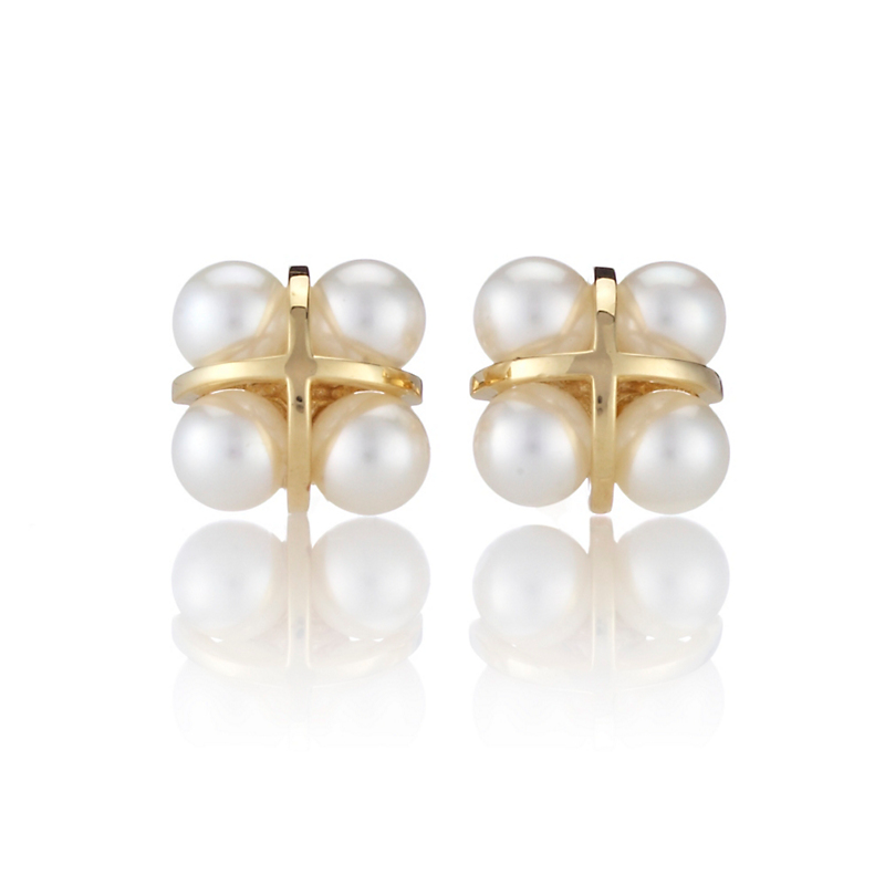 Four Pearl Square Stud Earrings